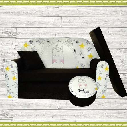 Sofa enfant Good Night, 2 places convertibles, transformable au lit, couleur noir au motif de licorne